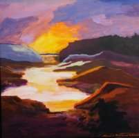 Sunset, Postens Have (100 x 100) 15.000 kr.